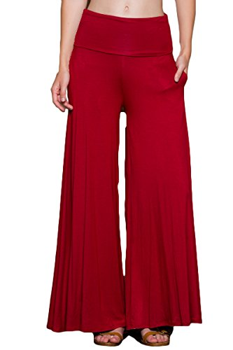 5 Pocket Wide Leg (Annabelle Women's Fold Over Waistband Comfortable Lounge Pants With Side Pockets Small Red P9010)