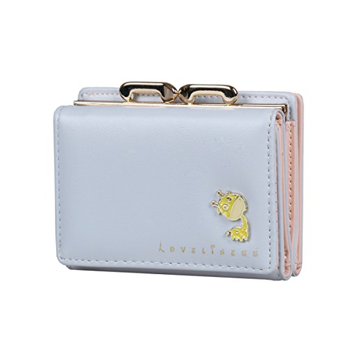 Damara Womens Small Card Case Wallet with Cute Giraffe Decoration,Blue