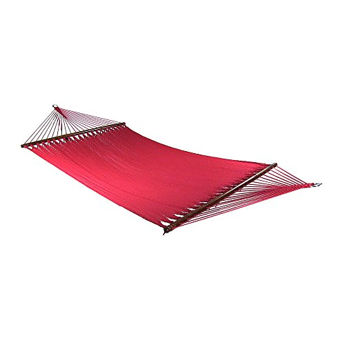 Sunnydaze Large 2 Person Soft-Spun Polyester Rope Hammock with Spreader Bars, Red, 600 Pound Capacity