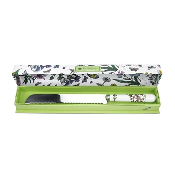 "Portmeirion Botanic Garden Bread Knife 1 Comes in Decorative Gift/Storage Box 13.25"" in Length Fine Porcelain and Stainless Steel"