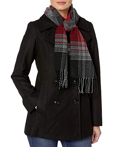 London Fog Women's Double Breasted Peacoat with Scarf, Black, M