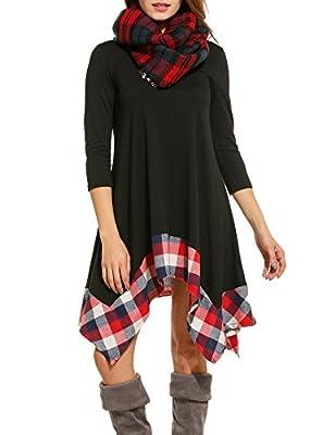 Beyove Women's 3/4 Sleeve Loose Plaid Irregular Hem Casual Tunic Shirt Dress