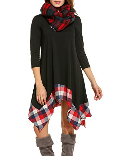 ACEVOG Womens Long Sleeve Loose Plaids Irregular Hem Casual Tunic Shirt Dress Black Large