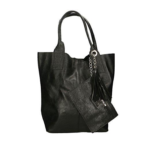 Aren Handbag Borsa a Mano da Donna in Vera Pelle Made in Italy - 42x35x15 Cm Nero