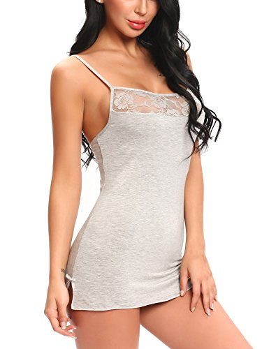 Ababoon Women Mini Babydoll Sleepwear Full Slip Sexy Lingerie Lace Dress Modal Chemises With G-String,Medium,Gray Dress Chemise