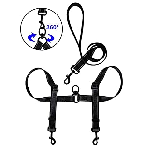 Tacobear Double Dog Leash for Two Dogs No Tangle Coupler Double Dog Dual Adjustable Splitter Lead Trainer Leash for Small Medium Large Dogs 32