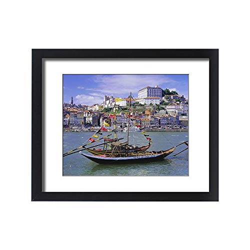 robertharding Framed 20x16 Print of River Douro and Sherry Boats (Port barges) (1185091) ()