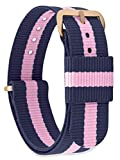 MOMENTO Women Men NATO Nylon Fabric Watch Strap Replacement with Stainless Steel Buckle in Rose Gold and Watch Band in Blue Pink 14mm