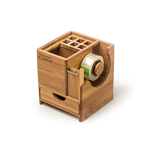 Prosumer's Choice Bamboo Office Caddy Desk Organizer with Pen Holder, Tape Dispenser, Storage Cubby and Pull-out Drawer