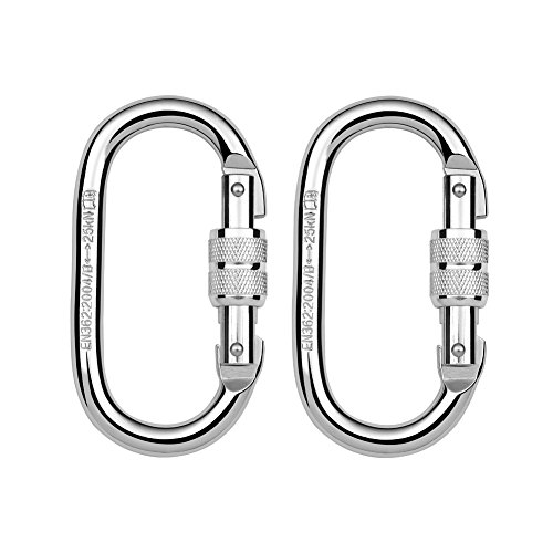 (Paliston 25kN O Shape Steel Climbing Carabiner Oval Locking Carabiner for Rock Climbing Hammock Aerial Dance and Swing Set (Pack of 2))