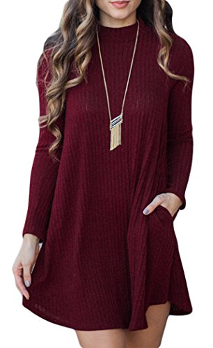POGT Women's Sexy Long Sleeve Knitted Casual A-Line Sweater Dress with Pockets (S, Wine Red1)