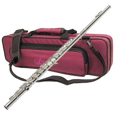 Nickel Plated C Flute with Burgundy Case by Sky Music