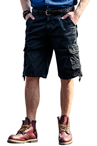 INFLATION Mens Cargo Shorts 100% Cotton Flat Front Casual Shorts with Pockets Dark Gray (Inflation Bladder)