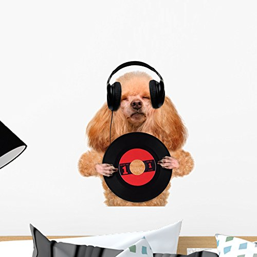 Wallmonkeys Music Headphone Vinyl Record Dog Wall Decal Peel and Stick Graphic WM49680 (18 in H x 17 in W)