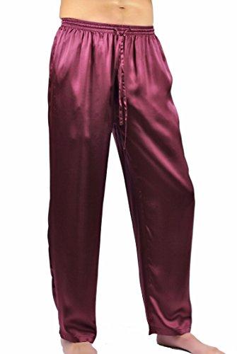 NYTEEZ Men's Silk Pajama Bottoms Lounge Pants (Burg, XL)