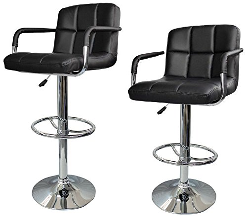THANYA Best Modern Adjustable Chair Swivel Bar Stool Black 2 PU (Frontgate Dining Arm Chair Cushion)