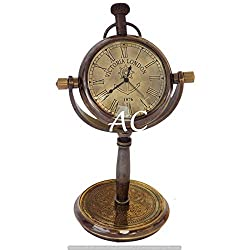 JD'Z COLLECTION Antique Brass Desk Clock Maritime Brass Nautical Victoria London 1876 Tabletop Decor Marine Desk Clock Gift Item