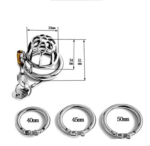 LAOAJIN Stainless Steel with cage Lock Ring Underwear Comfortable fit (Three Yards) A96