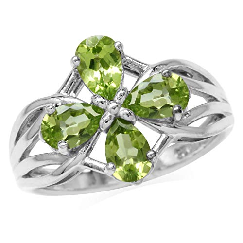 (1.68ct. 6x4MM Natural Pear Shape Peridot White Gold Plated 925 Sterling Silver Filigree Flower Ring Size 9)