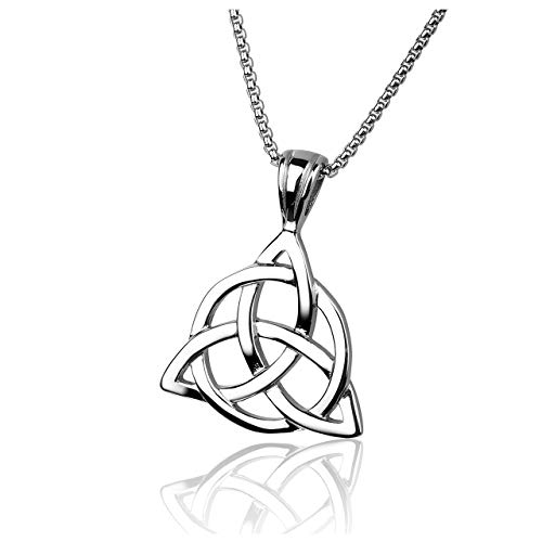 (Zysta Stainless Steel Celtic Trinity Knot Sturdy Women Men's Pendant Necklace with 24 inches Box Chain Link)