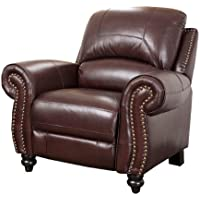 Abbyson Durham Leather Pushback Reclining Armchair