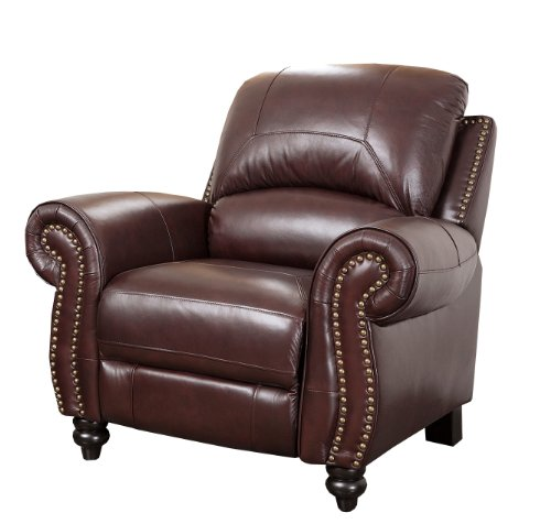 Abbyson Durham Leather Pushback Reclining Armchair (Leather Oak Recliner)