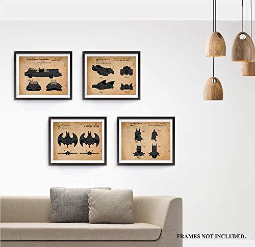 Batman - Patent Prints - Set of 4 Unframed Patent Prints - Great for Office, Garage, Studio, Shop, Man Cave Decor. Gift for Batman & Comics Fans