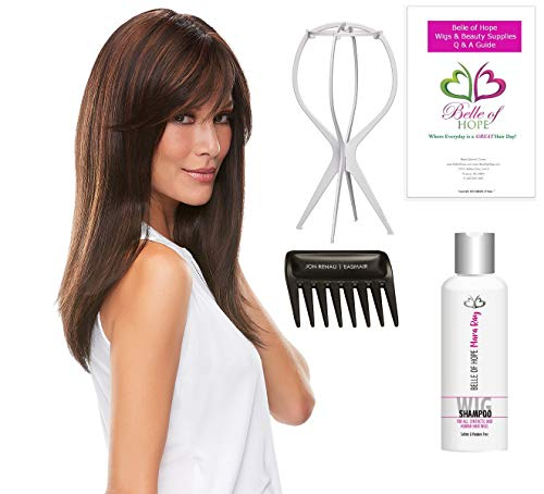 Bundle 5 PC:Camilla Double Mono Hand Tied Synthetic Wig by Jon Renau, Wide Tooth Comb, Mara Ray Luxury Shampoo, Plastic Wig Stand, 19 Page Belle of Hope Q & A Booklet (14/26S10) -  Jon Renau, Kashmir Keratin