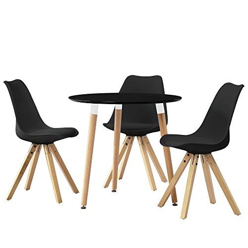[en.casa] Esstisch rund schwarz [Ø80cm] mit 3 Stühlen schwarz gepolstert Esszimmer Essgruppe Küche