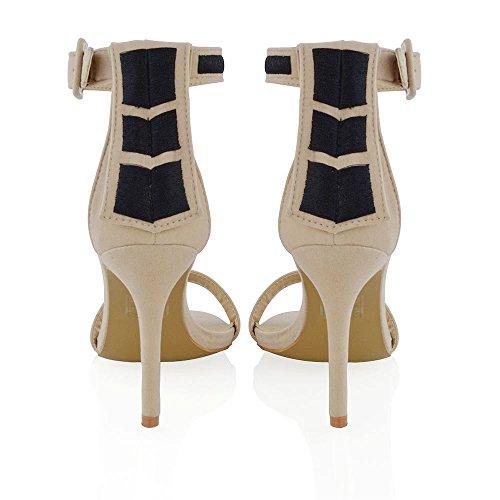 ESSEX GLAM Damen Sandaletten mit Hohem Stiletto Absatz Fesselriemen Peep Toe Schnalle Abendschuhe Hautfarbe Kunstwildleder