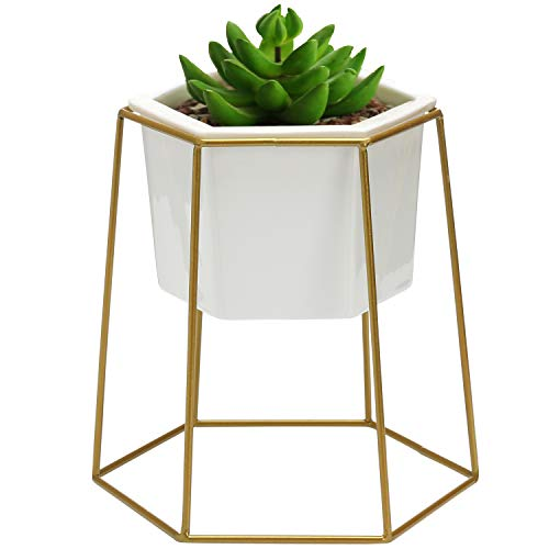 MyGift Geometric Ceramic Planter Pot & Gold-Tone Metal Stand - Hexagon Plant Stand