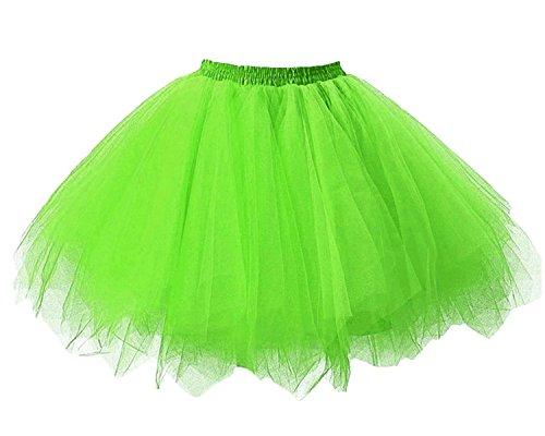 Facent Mujer Niña Cortas Tutu Falda Tul Enaguas para Disfraz Halloween Verde Brillante