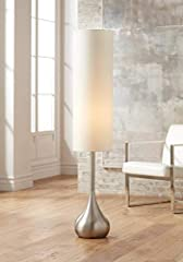 The droplet body is impressive with a brushed nickel finish and fluid mid-century modern lines. The striking drum shade looks crisp and clean and contributes to the vertical interest of this modern floor lamp design. Handy on/off foot switch ...