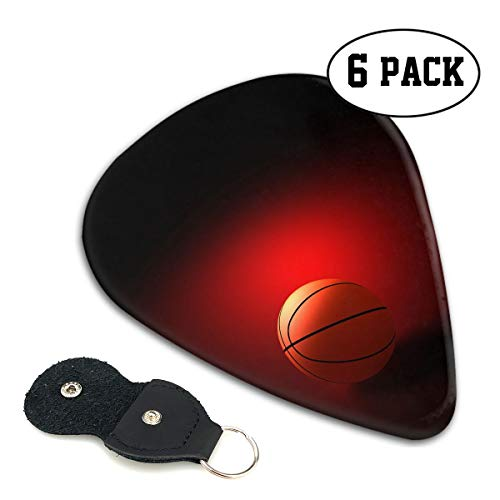 Red Basketball Guitar Picks 351-shaped .96mm 6pcs+A Storage Bag ABS Celluloid Plectrum Custom for Universal Electric Acoustic Guitars Bass Kids Adults Hot ()
