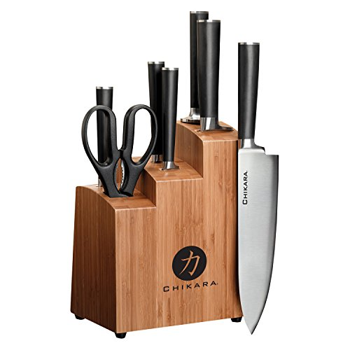 Ginsu Gourmet Chikara Series Forged 8-Piece Japanese Steel Knife Set – Cutlery Set with 420J Stainless Steel Kitchen Knives – Bamboo Finish Block, 07108DS (Steel Block Stainless)