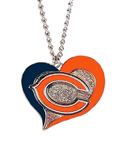 aminco NFL Chicago Bears Swirl Heart Necklace, Size 4, (Bears Nfl Candle)