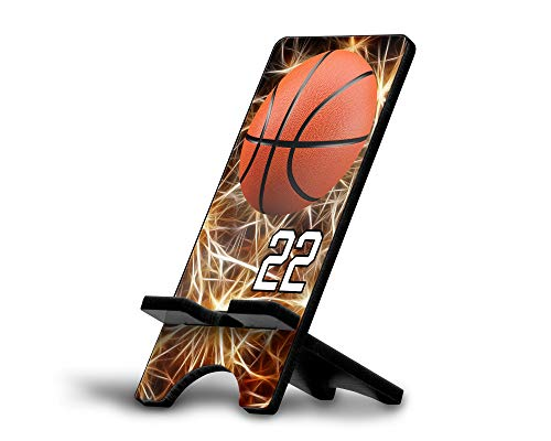 Cell Phone Stand Basketball #BK034 Personalized Player Jersey Number On A Universal Docking Charging Station Stand Customized by TYD Designs Number ()
