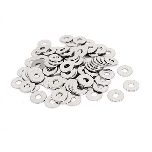 M6x18mmx1.5mm Stainless Steel Round Flat Washer for Bolt Screw 100Pcs by uxcell