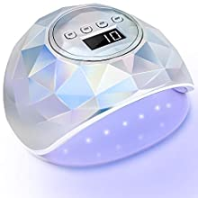 PrettyDiva 86W UV Nail Lamp - 2020 Newest Holographic LED UV Gel Light Nail Dryer for Gel Nail Polish, Curing Lamp for Both Hand with 4 Timer Setting Auto Sensor LCD Screen for Fingernails & Toenails