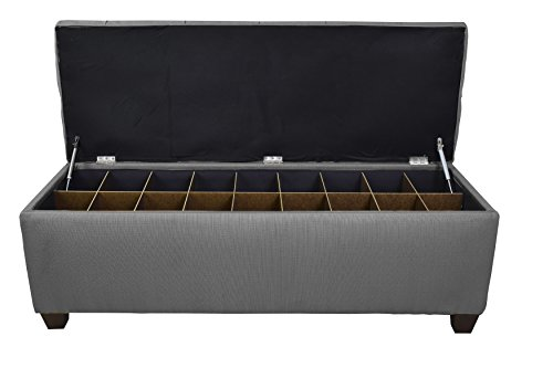 Amazon.com: The Sole Secret Button Tufted Ottoman with Shoe Storage,  Bedroom Bench with Shoe Storage Slots, 20