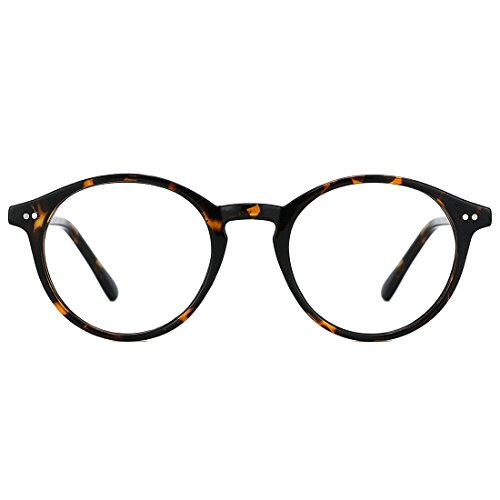 TIJN Blue Light Blocking Glasses Men Women Vintage Thick Round Rim Frame ()