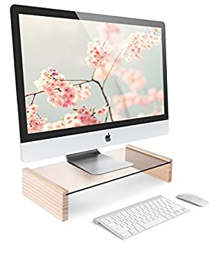 "Tenby Living Monitor Desktop Stand, Tempered Glass and Pine - 17.5"" x 9.5"" x 3.6"" - Ergonomic Tabletop Riser for use with Computer, LCD & LED TV, and Laptop / Notebook"