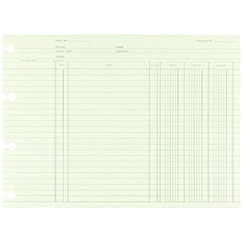 wilson jones green end balance ledger forms both sides alike 75 x 1038 inches 100 sheets per pack wgn1da