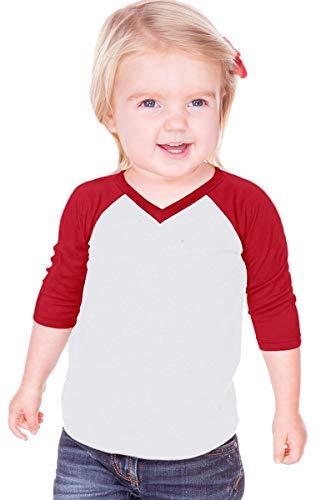 Kavio! Unisex Infants Sheer Jersey Contrast V Neck Raglan 3/4 Sleeve White/Red 18M ()