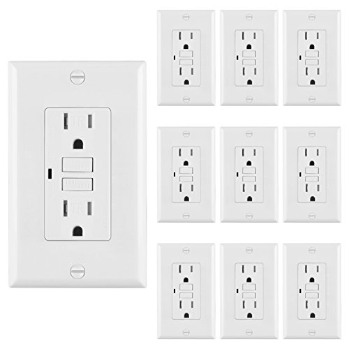 [10 Pack] BESTTEN Self-Test Tamper Resistant GFCI Receptacle Outlet with LED Indicator, Ground Fault Circuit Interrupter, 15Amp 125Volt, Wall Plate Included, Auto-Test Function, UL Certified, White - Resistant Gfci Receptacle