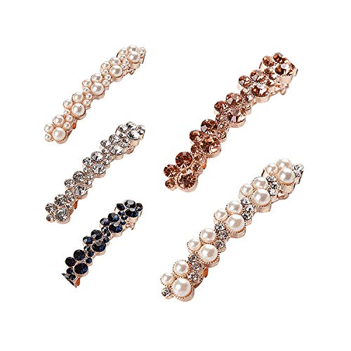 Crystal Rhinestone Pearl Diamond Hairpins Bangs Hair Clips Girls Barrettes Clamp Jewelry Styling Tools Fashion Women Lady Gift,White Diamond