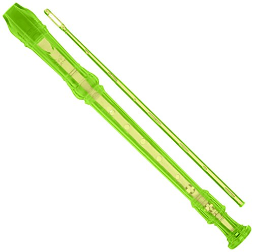 ravel-pr19cgn-transparent-recorder-with-cleaning-rod-and-bag-green