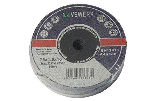 BERGEN extra thin Metal Cutting Discs (75x1.0mm x 9.5mm) 10pk B8062 VEWERK BY BERGEN