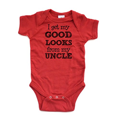Apericots I Get My Good Looks From My Uncle Short Sleeve Baby Bodysuit,Red,6 Months (Birthday Wishes For My Niece And Nephew)