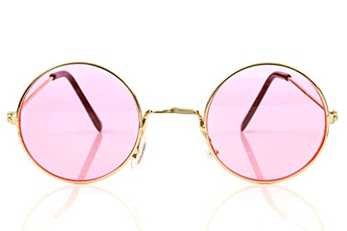3 Pair Set Of Pink Round Retro Hippie Rimless Sunglasses: M & M Products Online -